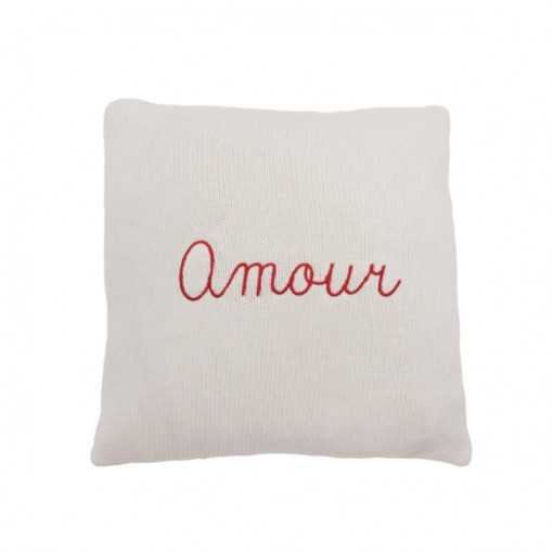 Customizable cushion - natural white color with light pink embroidery