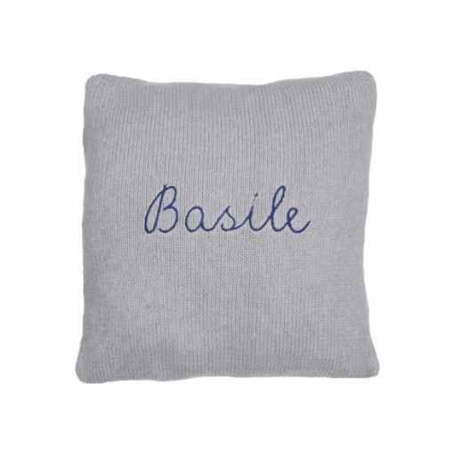 Coussin personnalisable gris broderie rose 100% alpaga
