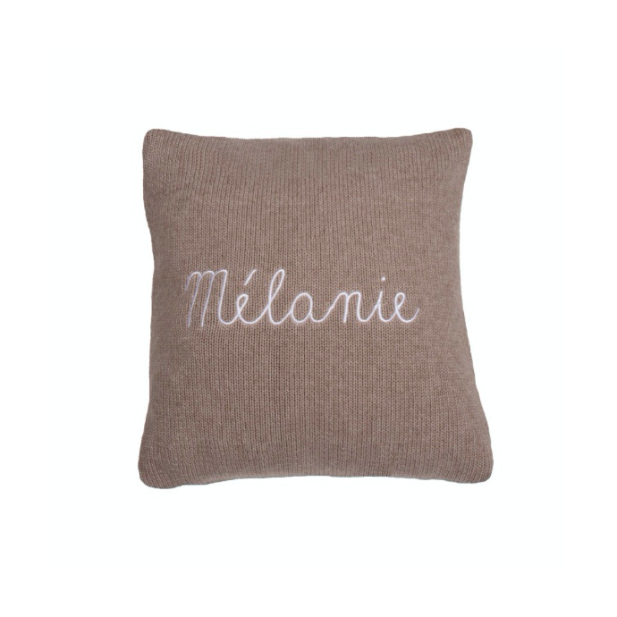 Customizable cushion - Chestnut color, lignt pink embroidery