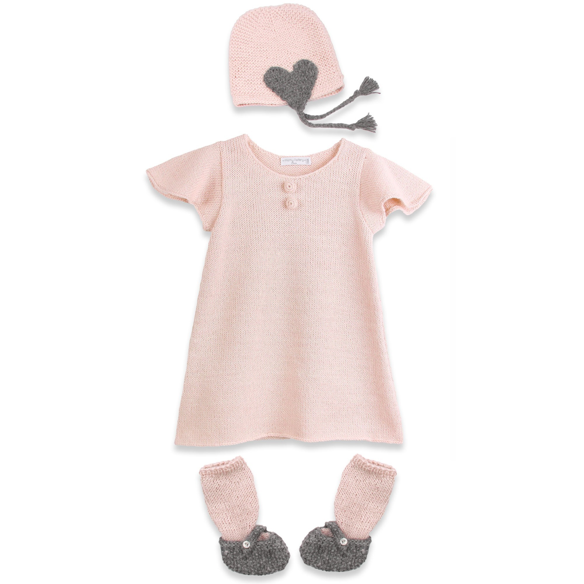 Pink baby dress and cap with ballerina slippers made from 100% alpaca. Knitted with moss and stockinette stitches - pink