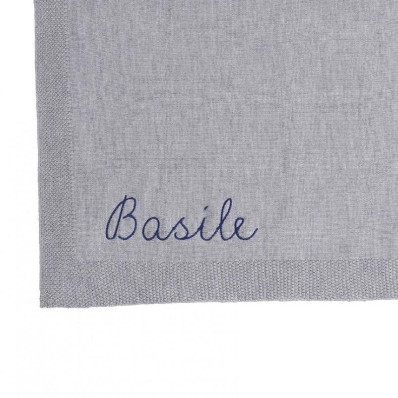 Couverture bébé personnalisable grise broderie prénom idée cadeau naissance