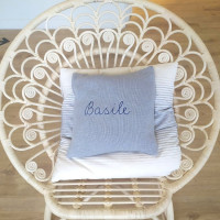 Customizable cushion grey with pink embroidery 100% alpaca