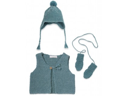 Gilet berger, moufles et bonnet tricotés en laine et alpaga bleu pétrole