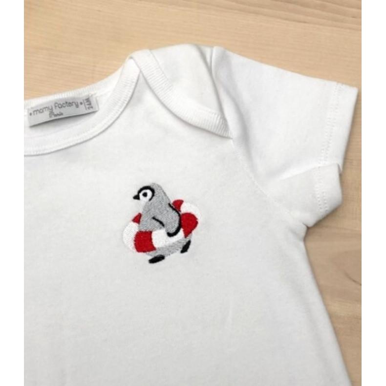 Body brodé pingouin - coton bio