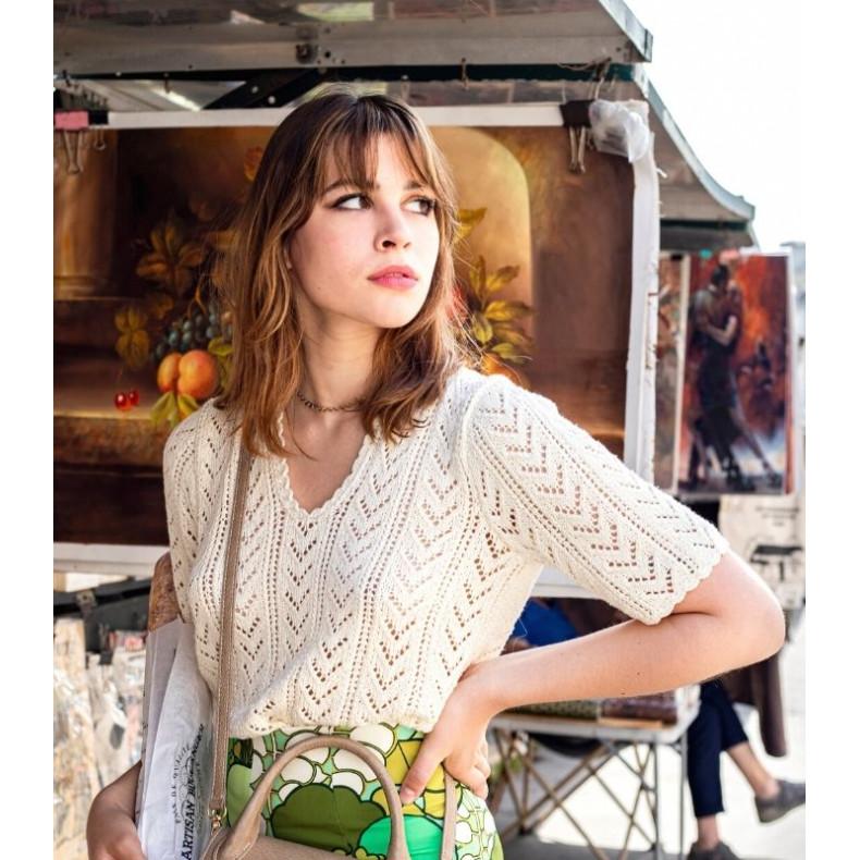 French Knitting pattern - Croptop Alice