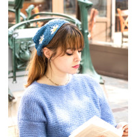 French knitting pattern of  bandana hat Flore
