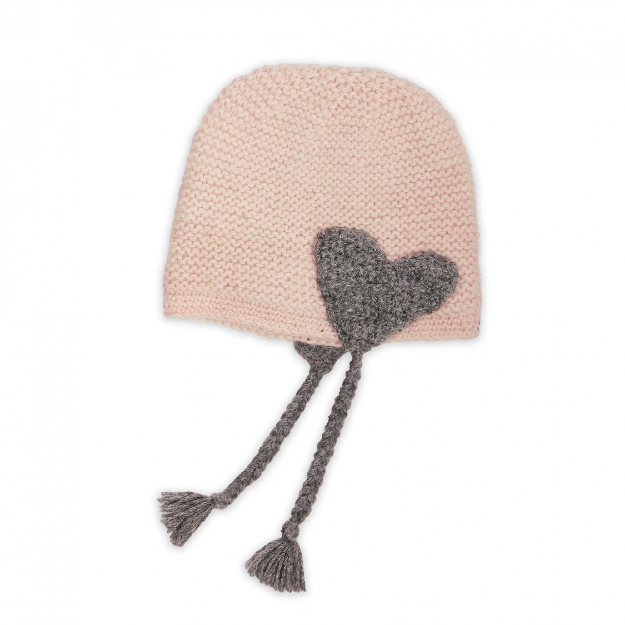 b6e56d39bb0c6 Bonnet bébé rose et gris en laine d\u0027alpaga au point mousse ...