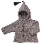 Manteau bébé gris chiné en laine et alpaga avec capuche