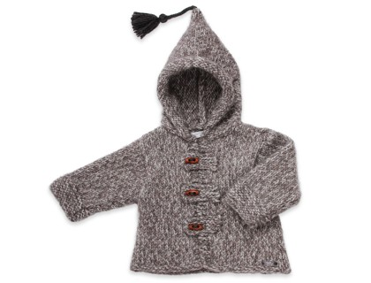 Baby hoody coat, flecked grey color
