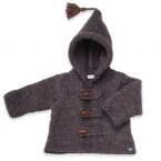 Manteau capuche bébé garçon bleu marine et marron chiné en laine et alpaga