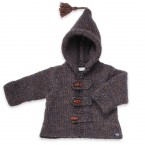 Baby hoody coat, navy blue and brown color, made from wool and alpaca