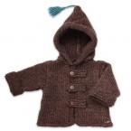 Manteau capuche bébé garçon marron en laine et alpaga