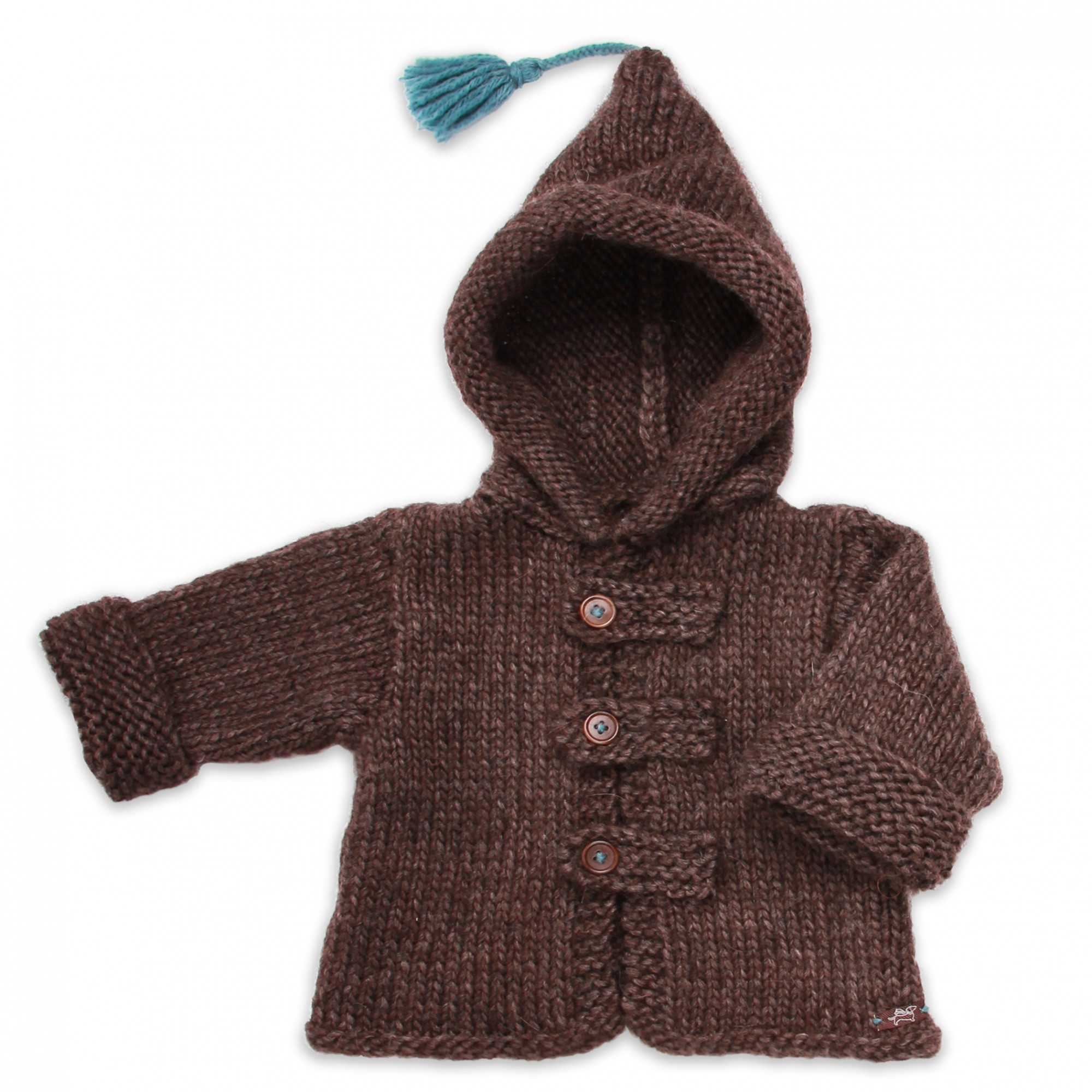 d72b53a7d Knitted brown baby coat with cuffed sleeves