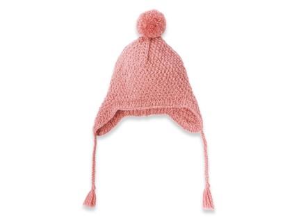Bonnet bébé fille vieux rose type bonnet péruvien en laine et alpaga tricoté au point de blé avec pompon