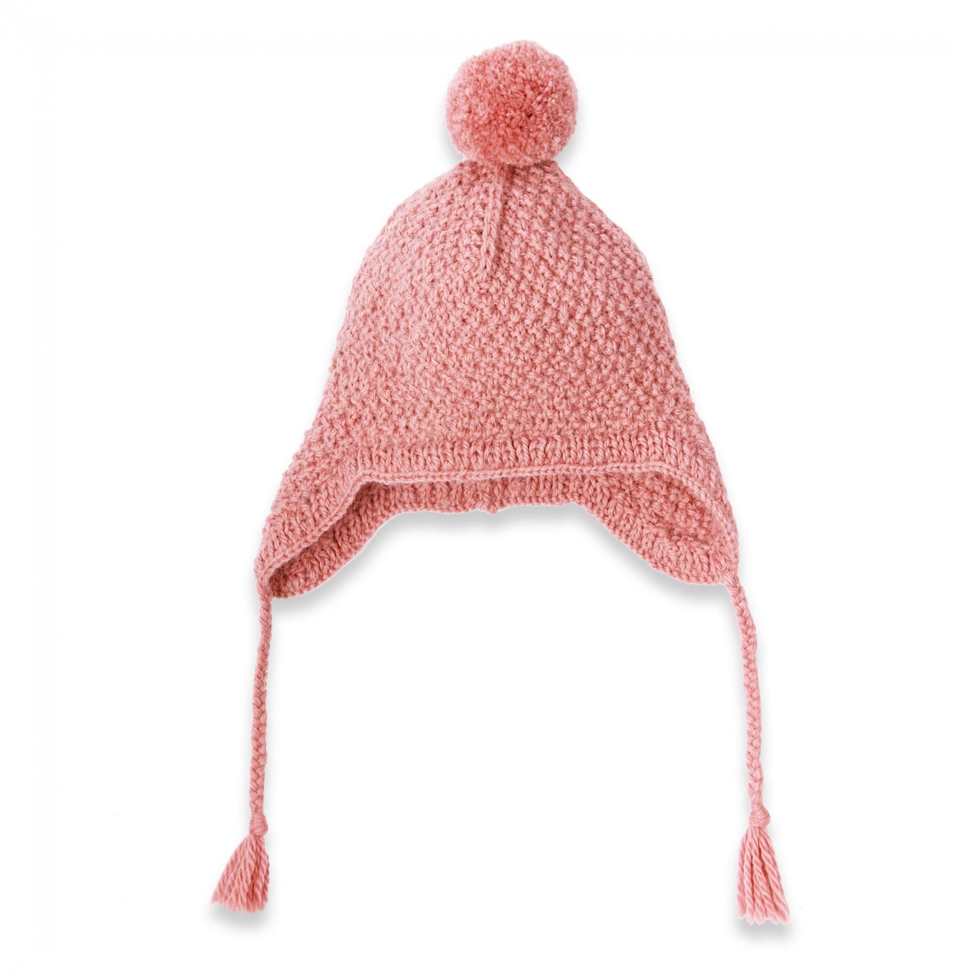 Fabulous Les tricots de mamy - Bonnet bébé fille avec pompom, mauve poudré  CX41