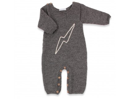 Grey baby playsuit made from aplaca wool