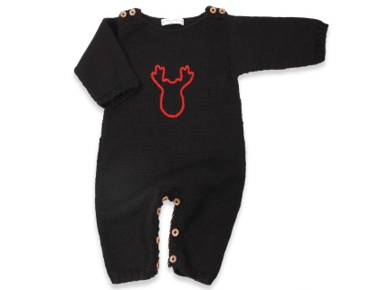 Black and red baby playsuit with wood buttons made from alpaca yarn