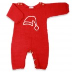 Red baby playsuit made from aplaca wool and white embroideries