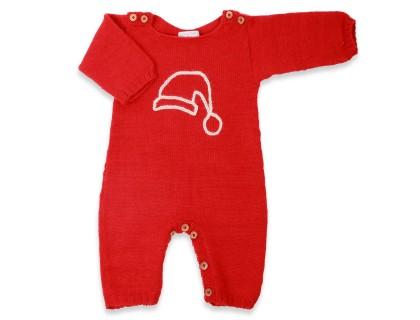 Combinaison bébé 100% laine d'alpaga rouge brodée écru