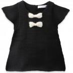 Robe bébé fille noire avec noeuds écru en 100% laine d'alpaga