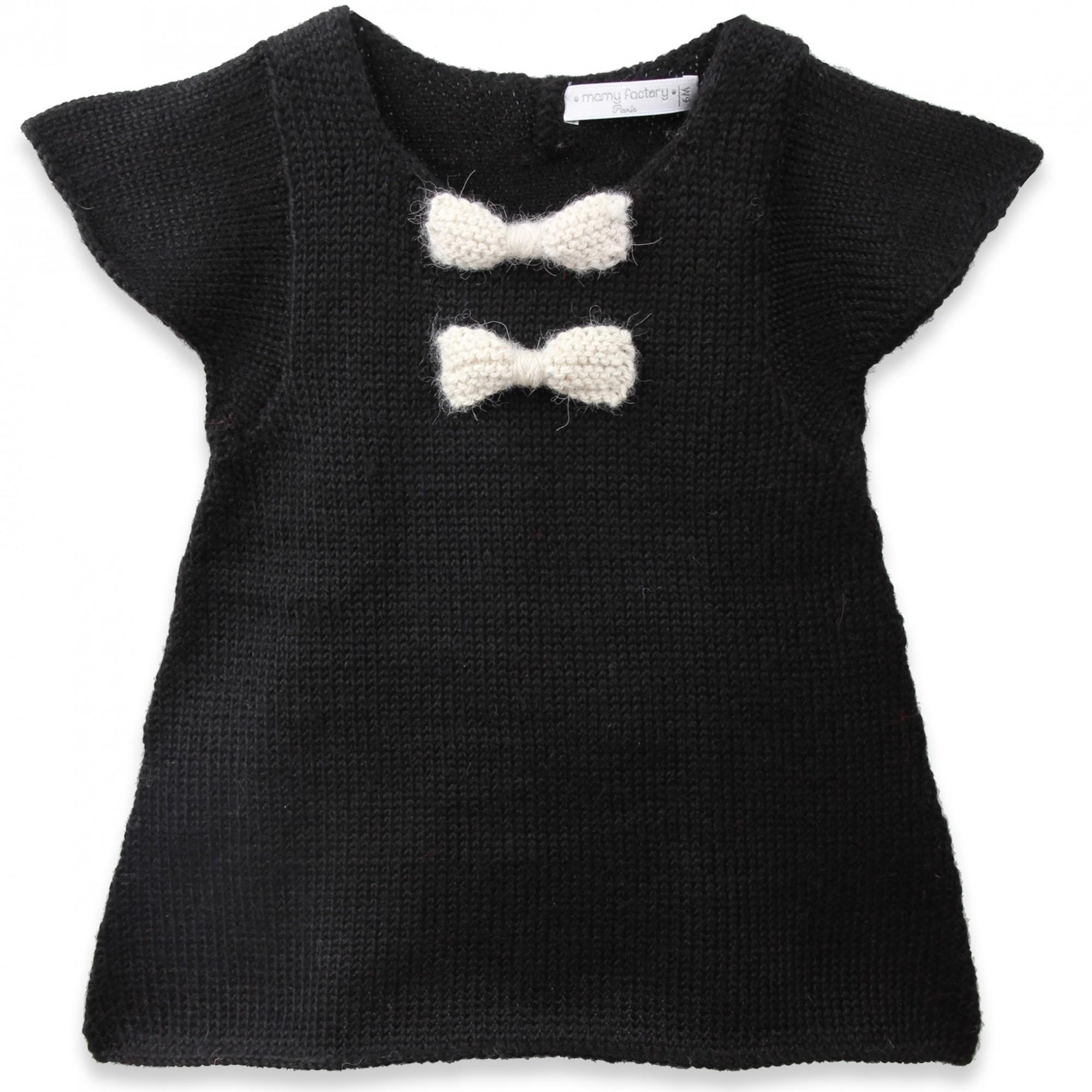 Granny s knitwear Black dress for baby girls short sleeves