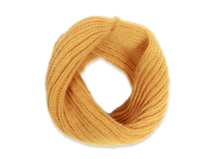 Yellow snood scarf for kids made from wool and alpaca