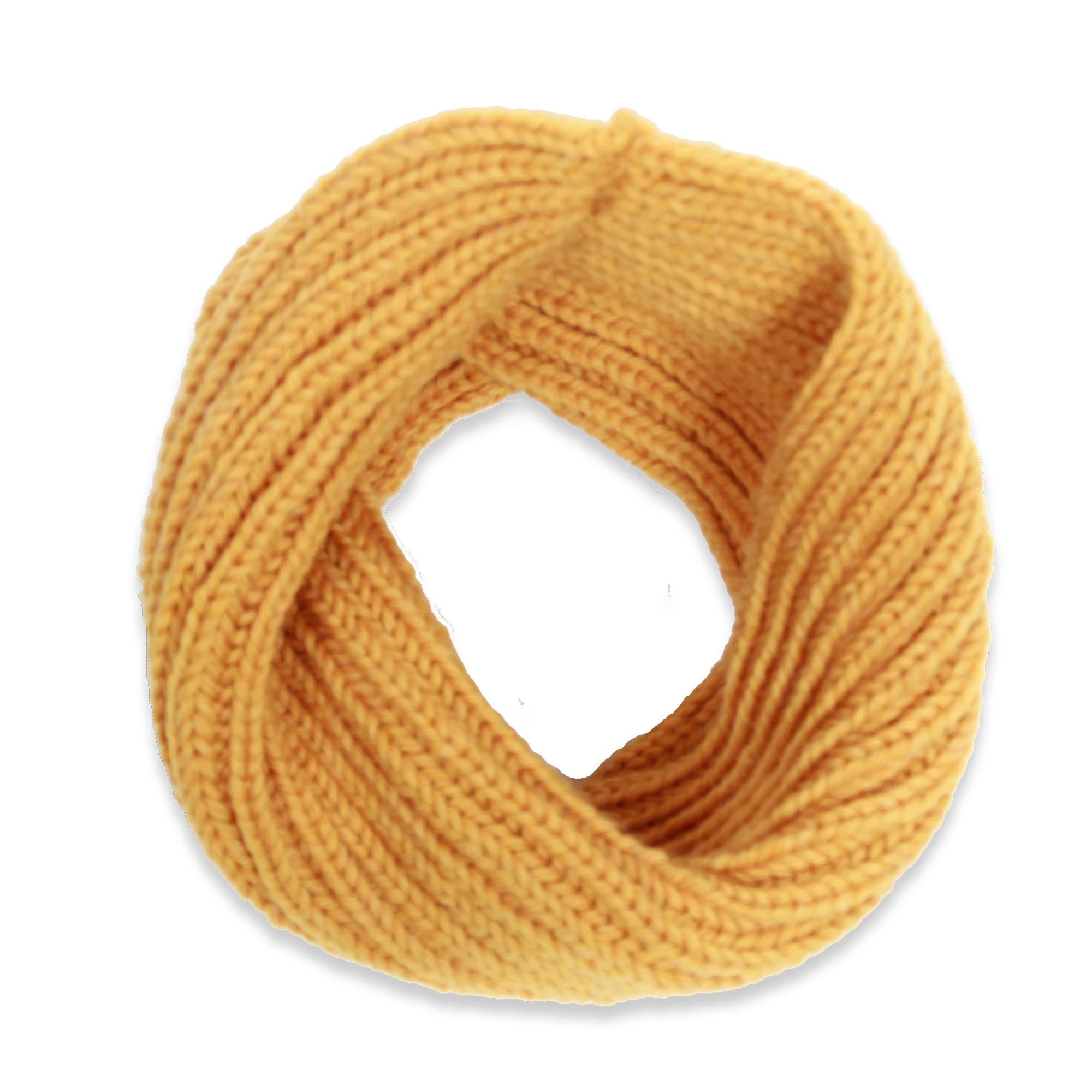 les tricots de mamy - écharpe snood col enfant jaune tricoté en