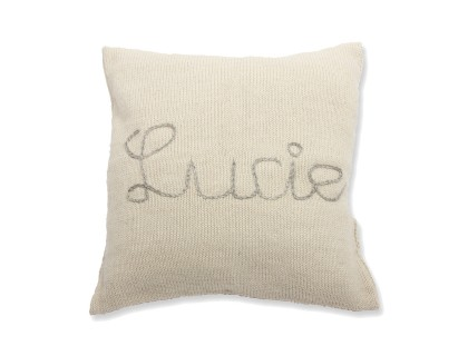 natural white knitted cushion made from 100% alpaca yarn for baby's room decoration - back