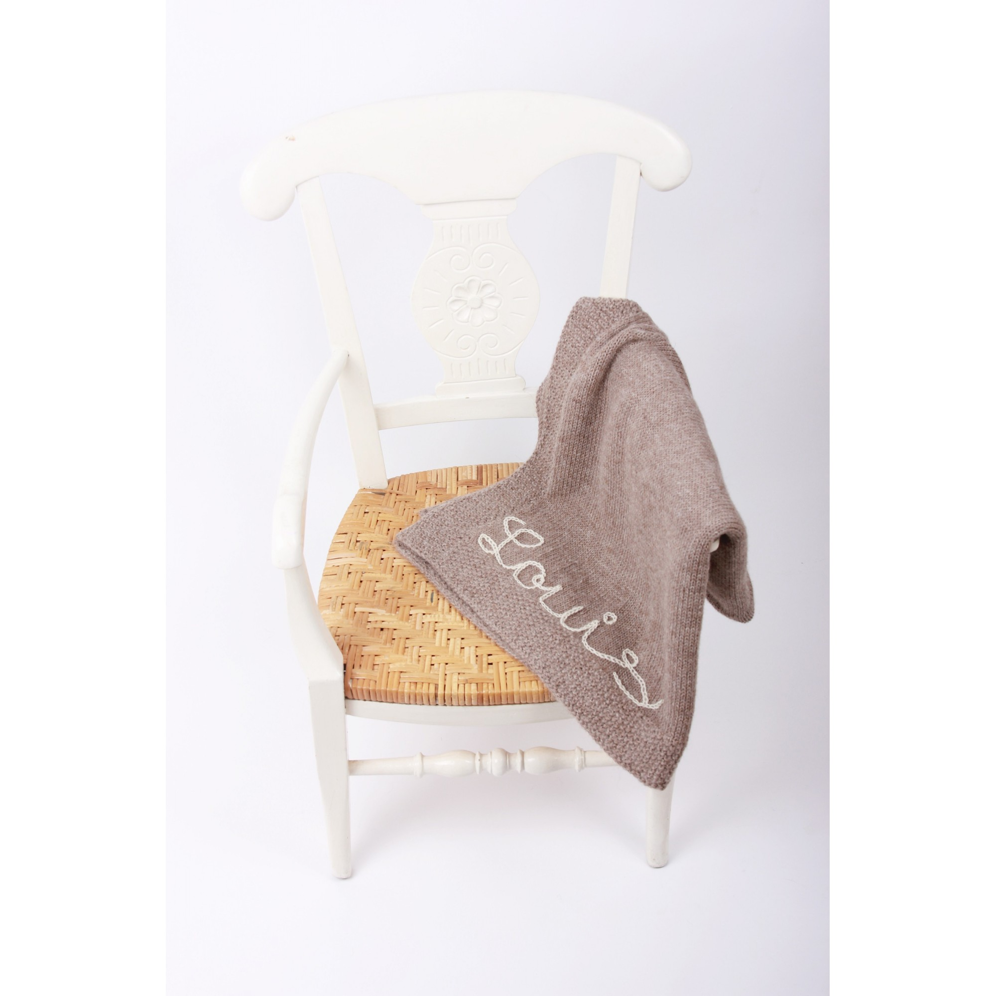 Light brown baby blanket made from 100% alpaga wool with natural white embroideries