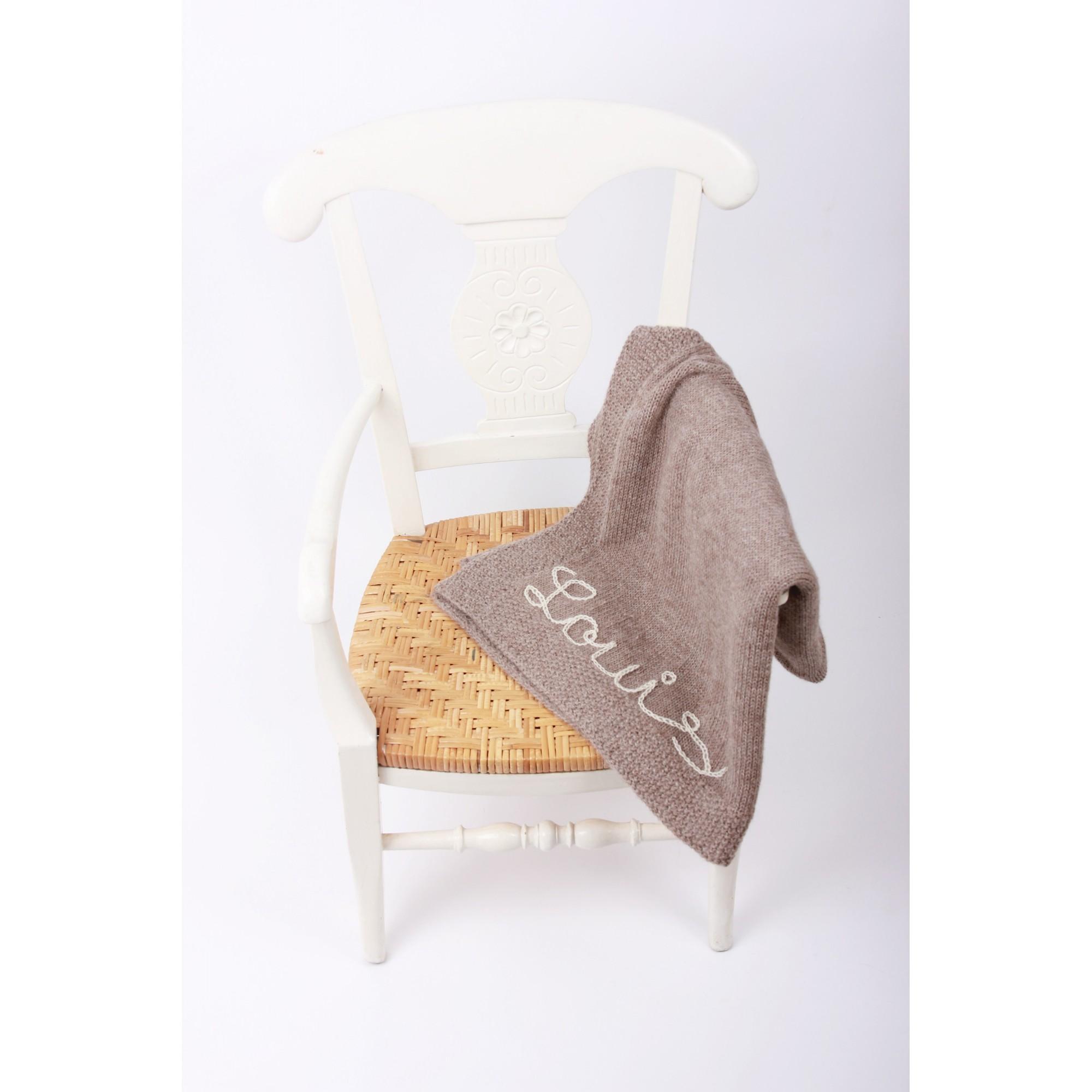 Couverture bébé chataîgne 100% laine d'alpaga brodée écru
