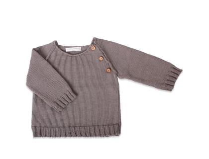 Pull écolier anthracite manches boutonnées et côtes jersey
