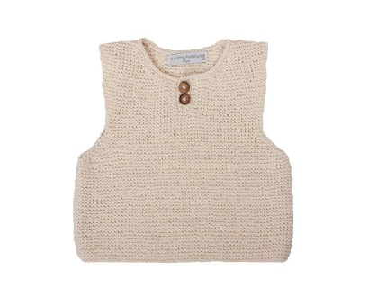 Child's tank top sweater, natural white handknitted made from cotton