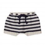 short bébé blanc rayé marine pour la plage, tricoté main fil coton et bambou