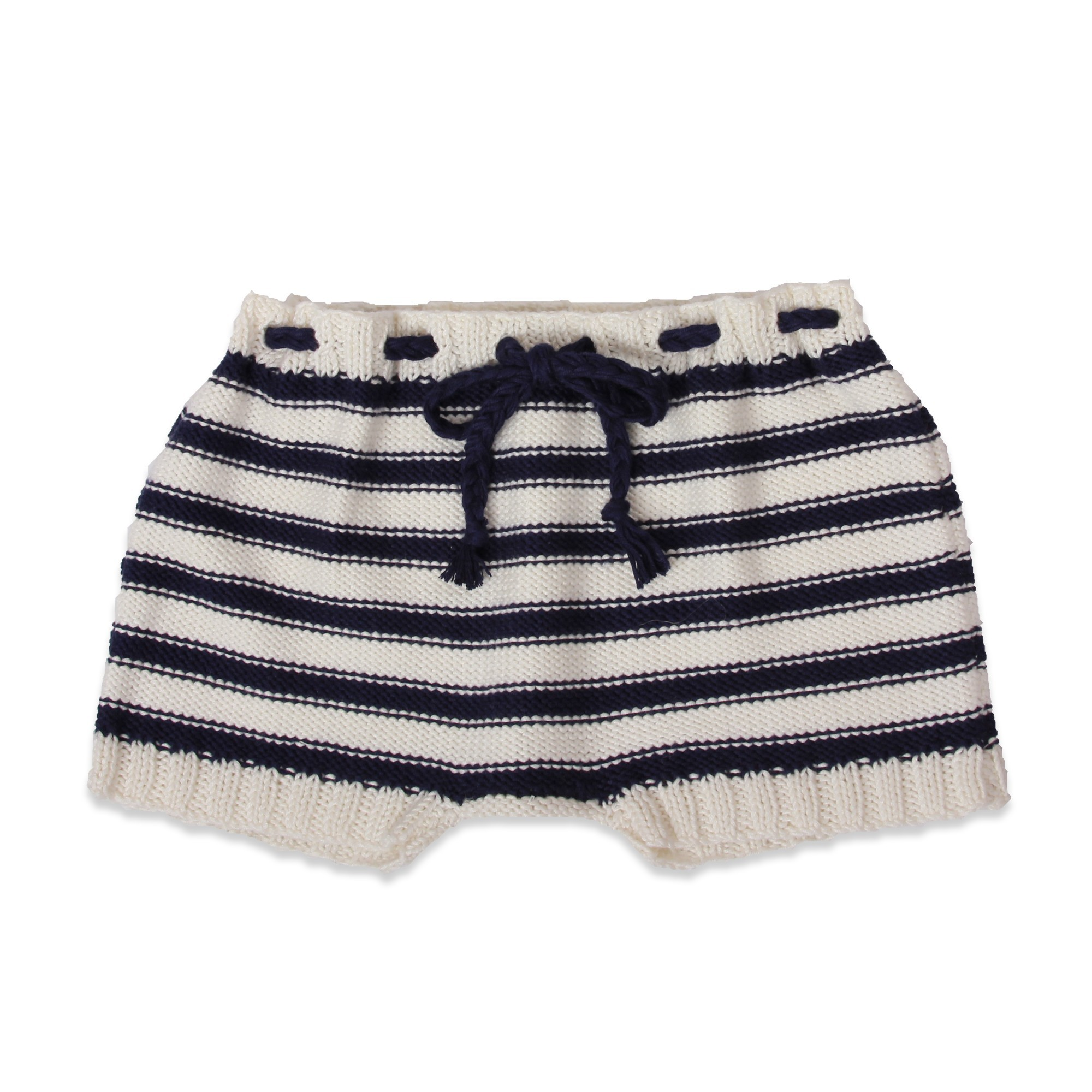 baby shorts white and navy striped for the seaside, handkknitted in cotton and bamboo yarn