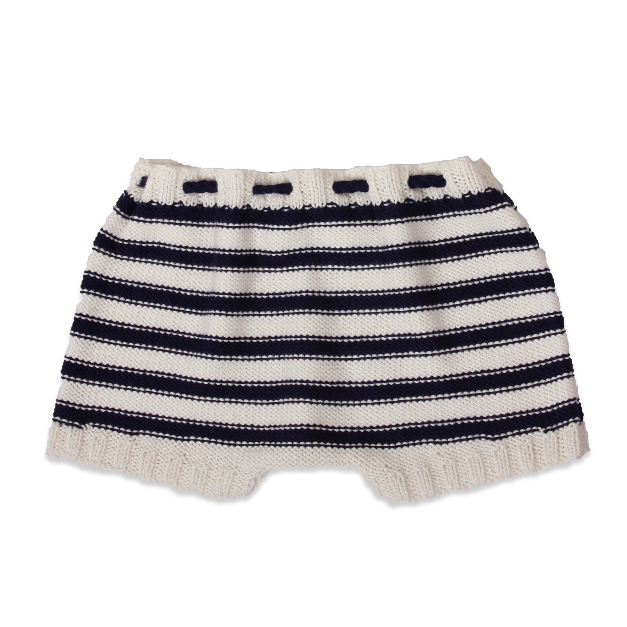 natural white and navy striped baby shorts