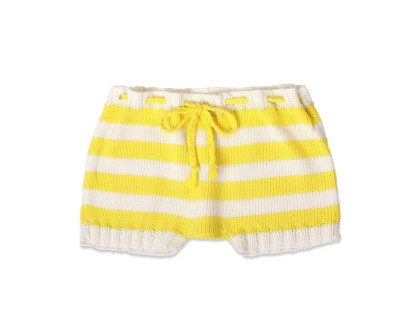 baby shorts white and yellow striped with matching plaited belt