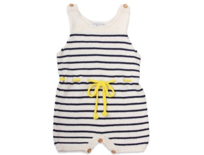baby playsuit striped with sewn lemon yellow details