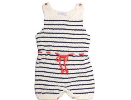 barboteuse bébé a rayures ecru marine et ceinture tressée coquelicot paprika