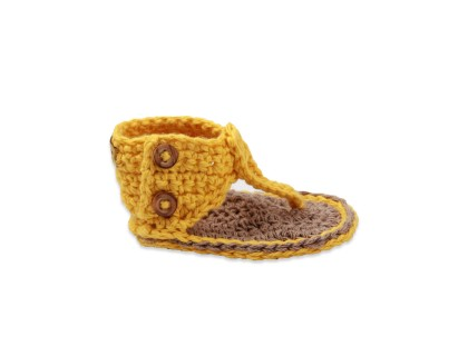 Sandales spartiate bébé fille coloris jaune crochet coton