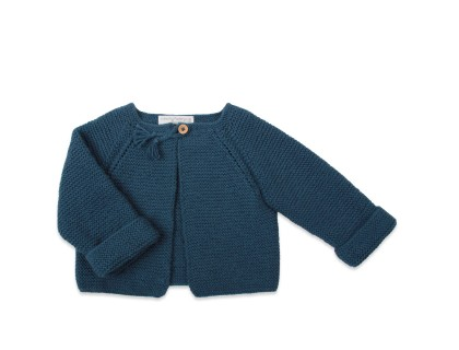 "baby and girls"" cardigan peacock blue with raglan sleeves and plaited buttonhole"