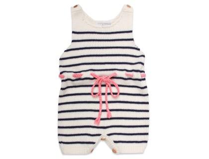 Combishort Honorée barboteuse bébé rayures ecru marine avec ceinture rose corail