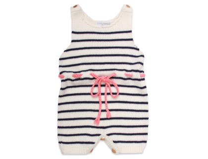 baby rompers naturel white navy blue stripes and coral pink belt