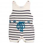 barboteuse bébé ecrue à rayures marines et finitions bleu turquoise