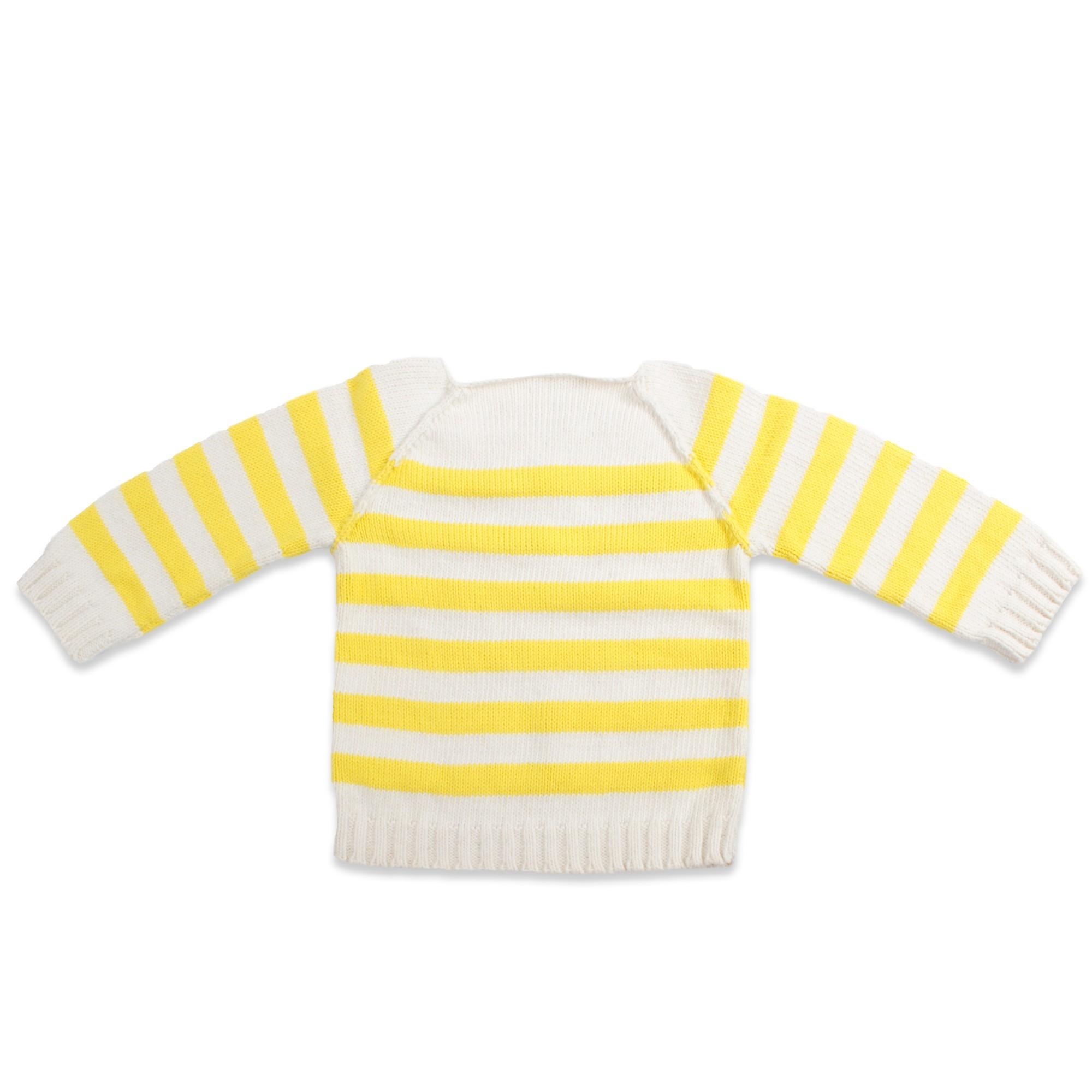 Les tricots de mamy pull cru ray jaune boutonn la for Pull cachemire enfant