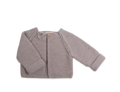 baby girls cardigan light grey garter stitch handknitted
