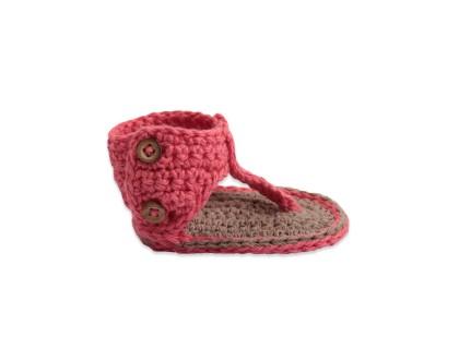 Sandales type spartiates enfant, chausson bébé fille rose corail en fil de coton