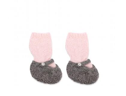 Chaussons bébé en alpaga rose et gris chaussettes bébé nourisson