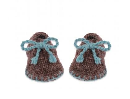 Chaussons bébé desert boot bleu pétrole marron laine et alpaga tricoté main