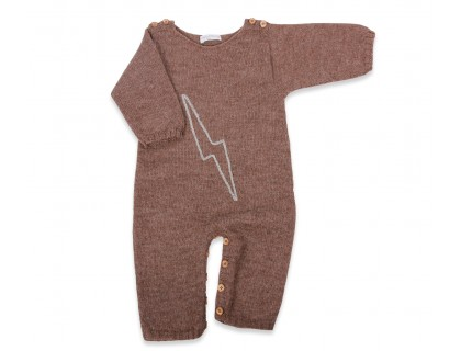 very soft baby playsuit pyjamas light brown alpaca yarn and embroidery