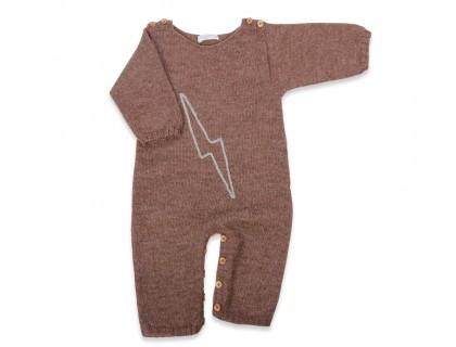Barboteuse bébé marron en alpaga doux et motif brodé fait main